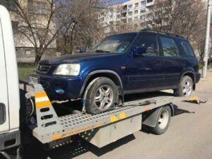 Репатриране на джип Honda с нарязани гуми - Пътна помощ - 0878 424 097